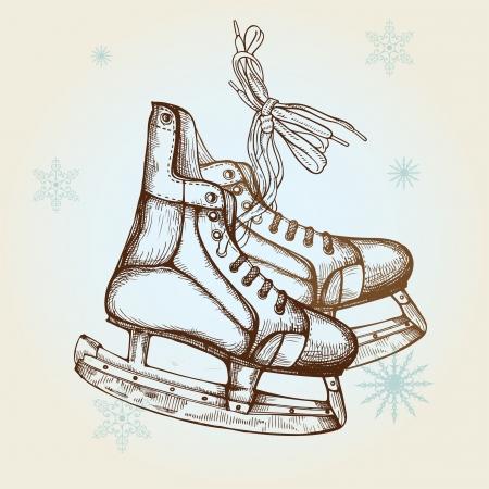 Hand Drawn Illustration of Old Retro Skates