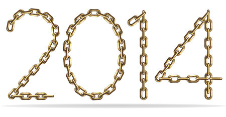 Sign 2014, made with gold chains photo