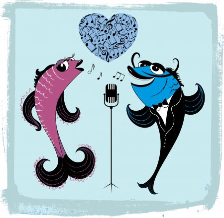 illustration of two cartoon singing fishes