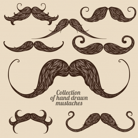 fake mustaches: Set of hand drawn brown patterned mustaches