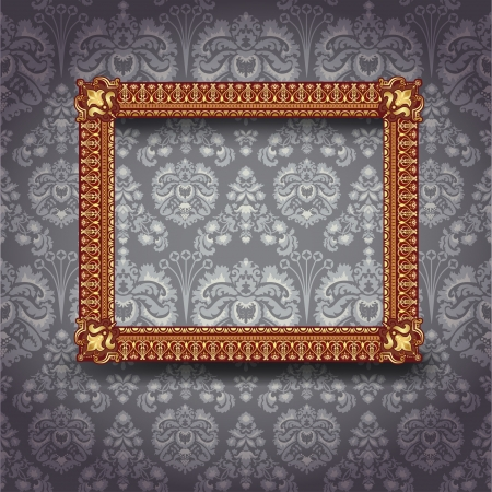Golden luxury empty frame on the wall Vector