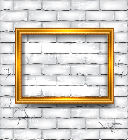 Golden luxury empty frame on the white brick wall Ilustração