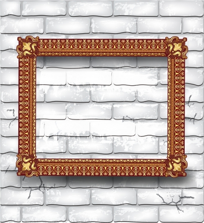 Golden luxury empty frame on the white brick wall Vector
