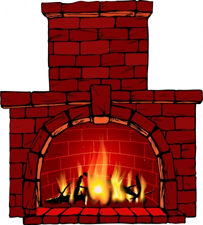 fire place:  illustration of fire in fireplace