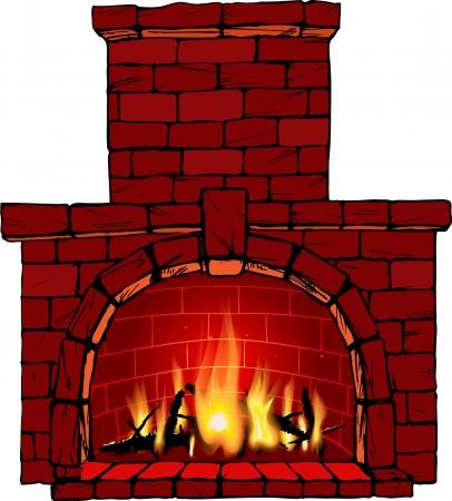 illustrazione del fuoco nel camino