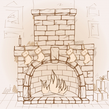 Hand drawn fireplace, vector illustration  イラスト・ベクター素材