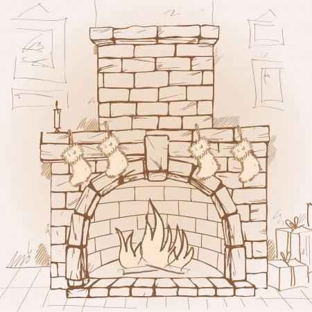 fireside: Hand drawn fireplace, vector illustration Illustration