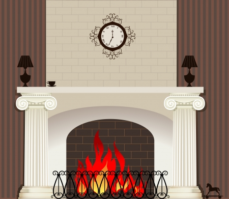 stone fireplace: Vector illustration of fire in fireplace