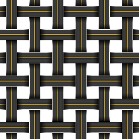 Seamless pattern with a grid of crossing highways Vector
