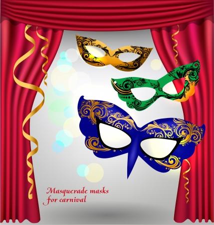 ゴールドと patternsmasks の仮面舞踏会のための 3 つの高級マスクと赤開いた劇場のカーテンを飾る