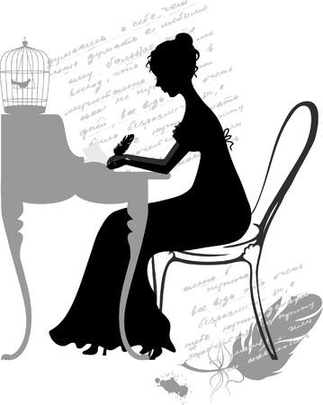 Vector illustration of young girl writes love letter Illusztráció