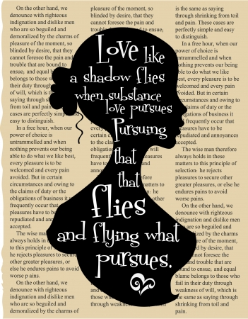 literature: Decorative silhouette of a girl with a classic quote