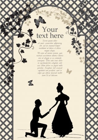 proposition: A young man makes a proposal to the girl  Silhouette illustration, vector