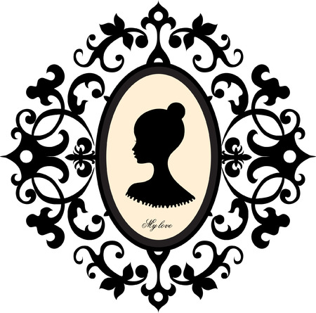 woman background: Medallion with a portrait of a girl