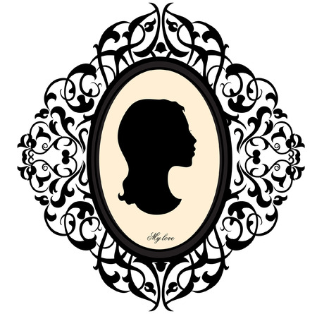 Medallion with a portrait of a girl Stock Vector - 23656454