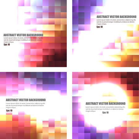 Set of abstract colored backgrounds made with square Illustration