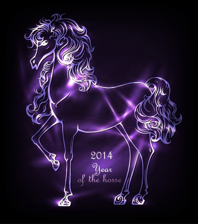 Background with decorative neon horse, symbol 2014 Vector