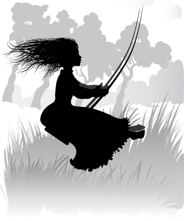 Illustration of silhouette Girl on swing Vector