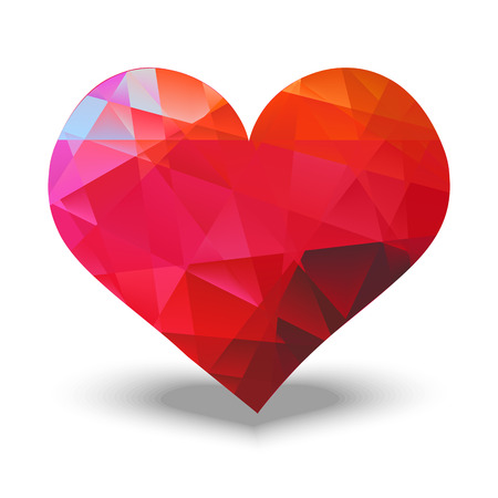 Abstract red heart made with triangles Vector