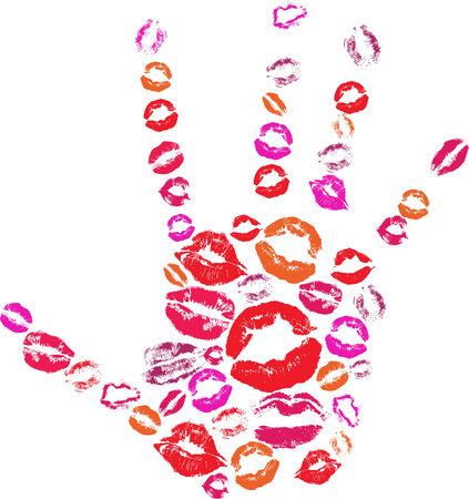 beso labios: Forma de la mano hecho con besos de impresión