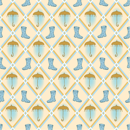 Retro seamless background with hand drawn umbrella and rubber boots Vector