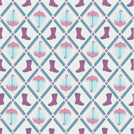 rubber boots: Retro seamless background with hand drawn umbrella and rubber boots Illustration