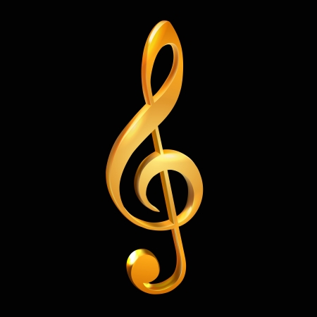 Gold treble clef on black illustration