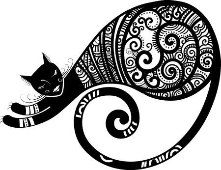 Patterned cat, hand drawn unique vector illustration