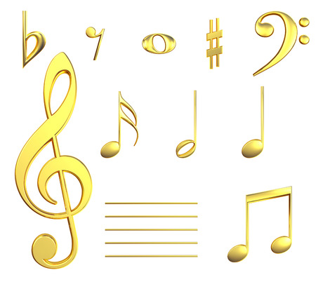 tremble: Various musical notes in gold