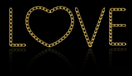 chainlet: Word  Love  made with gold chain