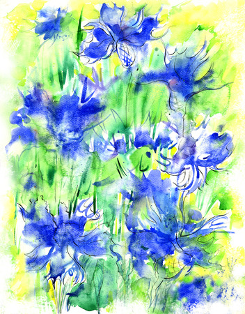 Watercolor background with corn-flowers Stock Photo - 26049310