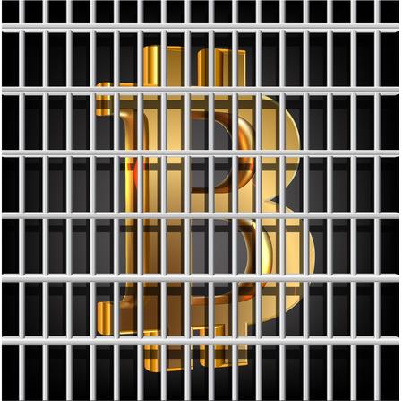 Bit coin behind prison grid Vector
