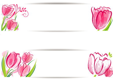 Set of tulips background Stock Vector - 26584172