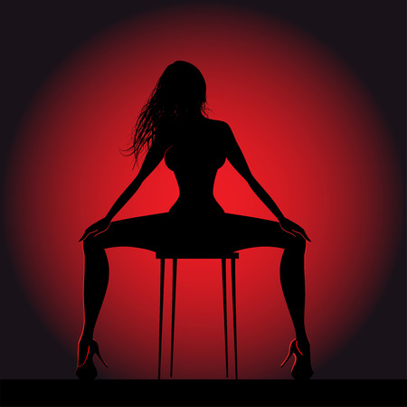 Striptease girl silhouette on chair