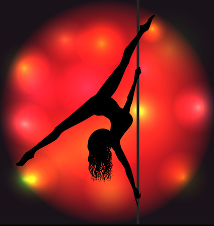 Striptease girl silhouette near a pole Vector