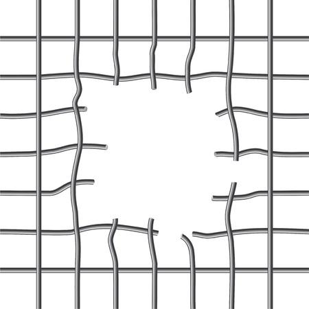 gitter: Gebrochene Metallgitter mit einem Loch in