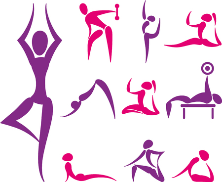 concentrating: Set of hand drawn colored yoga and sport icons Illustration
