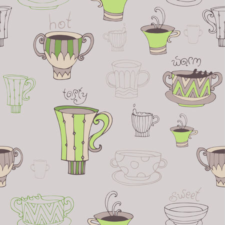 percolator: Seamless  background with coffee cups