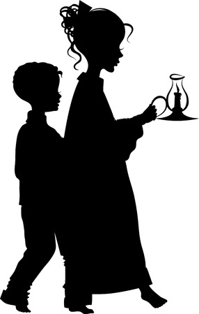 Vector silhouette image of two children walking with a candle in hand