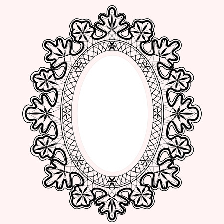 Black lace oval frame, vector  Vector
