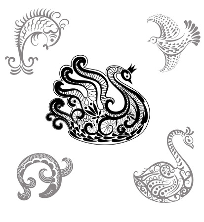Set  of hand drawn fishes and birds