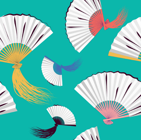 Seamless background with fans  Vector