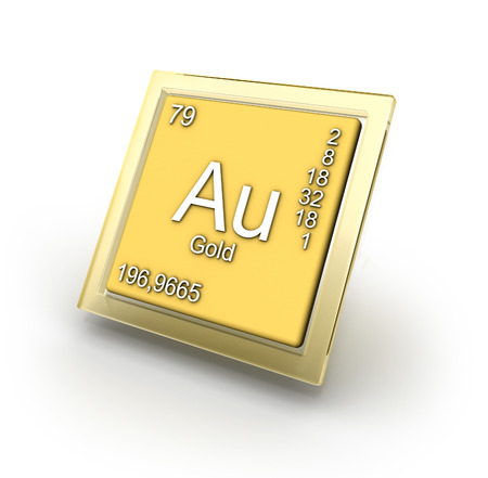 neutrons: Gold chemical element sign Stock Photo