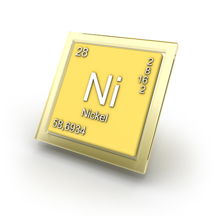 nickel: Nickel chemical element sign   part of collection  Stock Photo