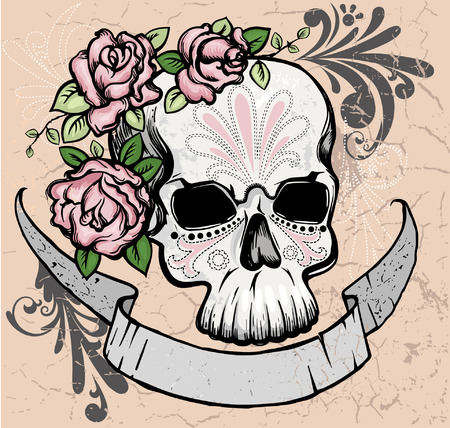 Skull with roses and ribbon Vector