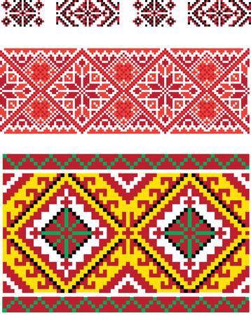 red stitches: Set pf ukrainian folk seramless patterns and borders Illustration
