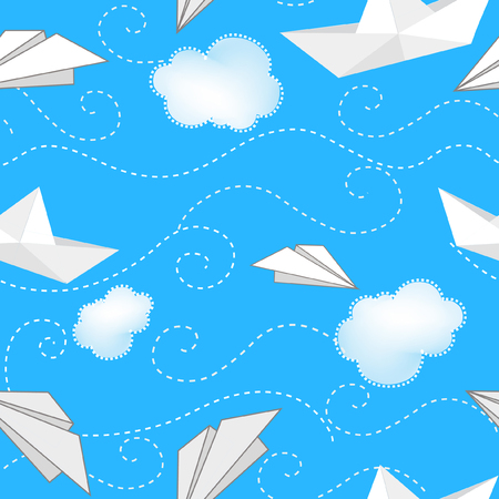paper airplane: Seamless background with paper ships, planes and clouds