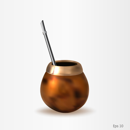 mate drink: Calabash with bombilla vector file