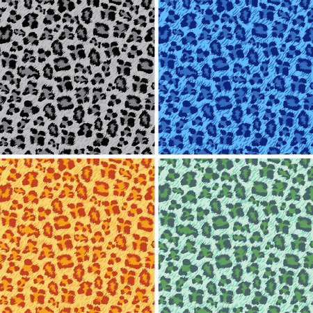 Set of different colored leopard texture background Vector