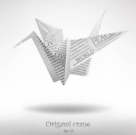 Origami grúa hecha con papel de periódico